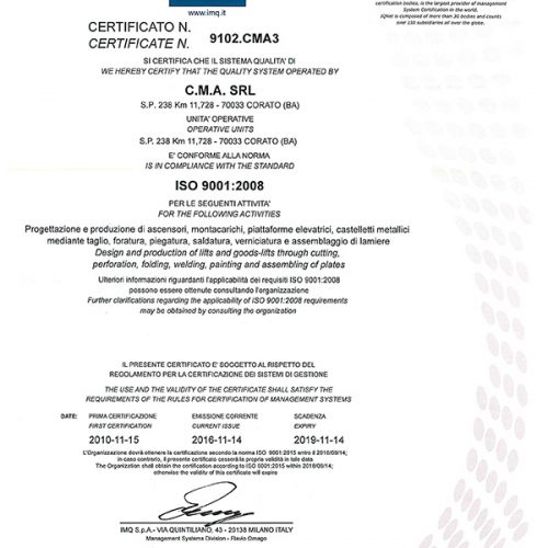 Certificato ISO 9000-1
