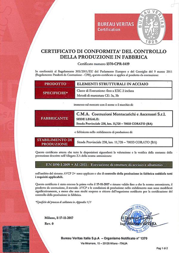 EN 1090-1 – Certificato FPC BV 1370-CPR-1419-1