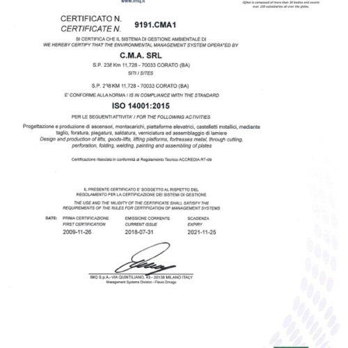 Certificato ISO 14001-1