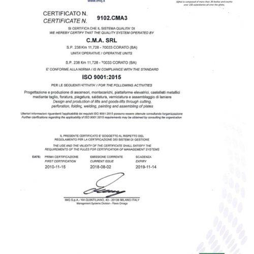 Certificato ISO 9001-1
